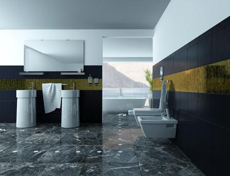 モダンなバスルーム インテリアの洗面台、黒いタイルの画像