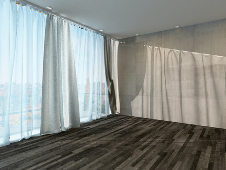 recessed: Picture of empty room interior with curtain and parquet floor Stock Photo
