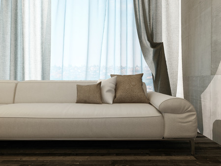 Picture Of Beige Couch Against Curtains Stock Photo, Picture And Royalty  Free Image. Image 27989702.