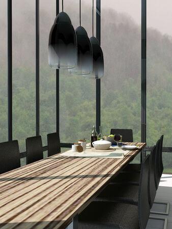 abatjour: Immagine della sala da pranzo interna con tavolo in legno Archivio Fotografico
