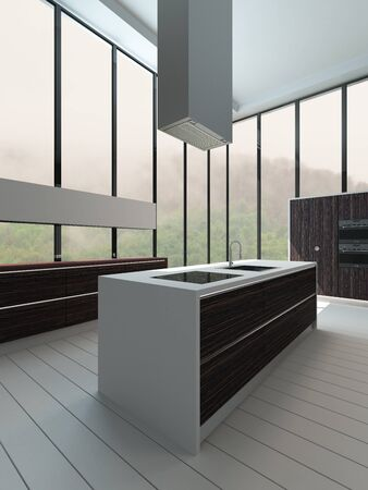 kitchen island: Picture of modern kitchen interior with floor to ceiling windows