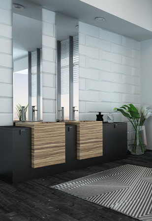Picture of modern bathroom interior with wooden furniture Imagens