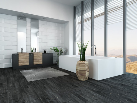 Picture of modern luxury bathroom interior with bathtub photo