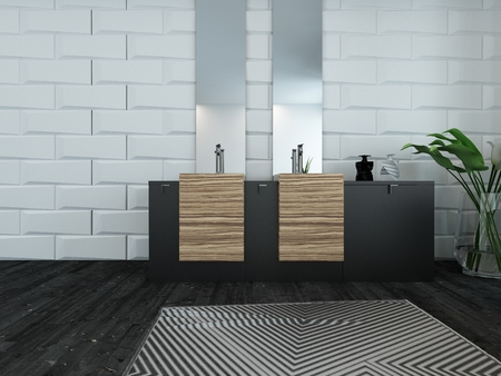 Picture of modern bathroom interior with wooden furniture photo