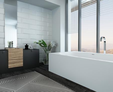 basin mountain: Picture of modern luxury bathroom interior with bathtub