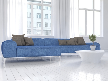Picture of white living room interior with blue couch photo