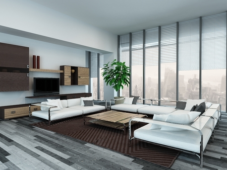 Picture of modern living room interior with wooden cabinets photo