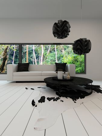 Picture of Contemporary living room with black and white sofa photo