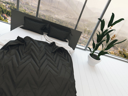 bedclothes: Top view picture of bed with black bedding