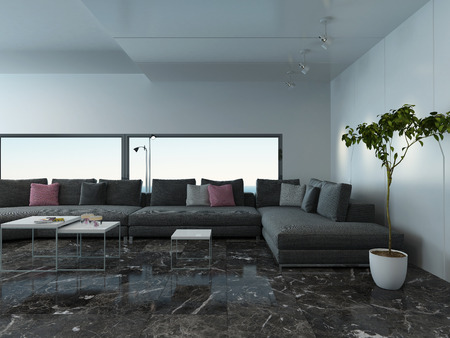 airy: Picture of airy living room interior with marble floor and couch