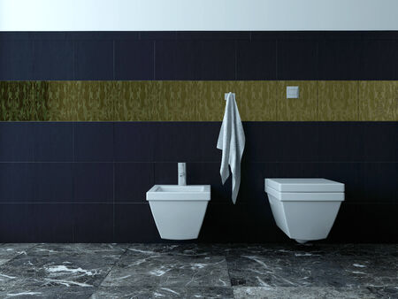 Picture of toilet and bidet against black tiles photo