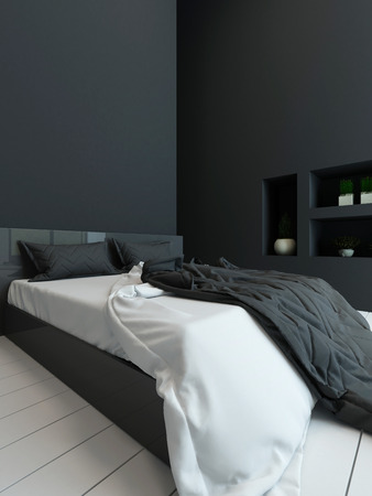 stark: Picture of black colored bedroom interior with alcove