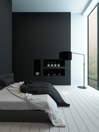 unmade: Picture of contemporary black and white bedroom interior