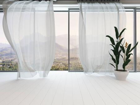 大きな窓とカーテンの空の白い部屋インテリアの写真 写真素材