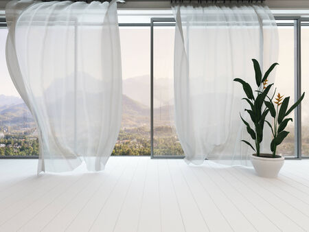 Picture of empty white room interior with huge window and curtain Stock Photo