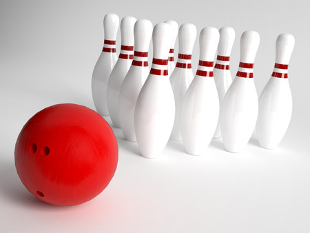 Bowling Ball and pins photo