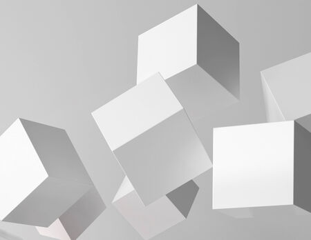 White cubes flying around in space photo