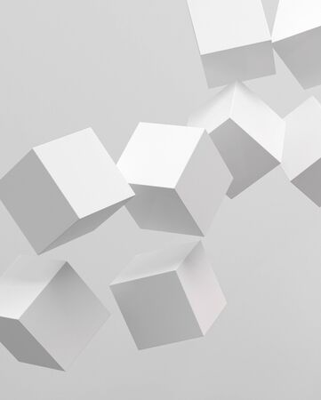 detach: Picture of 3d rendering of white cubes Stock Photo