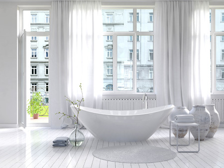 bathtub: Picture of Pure white bathroom interior with separate bathtub