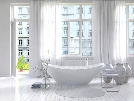 bath room: Picture of Pure white bathroom interior with separate bathtub