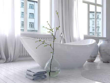 Afbeelding van Pure witte badkamer interieur met apart bad Stockfoto