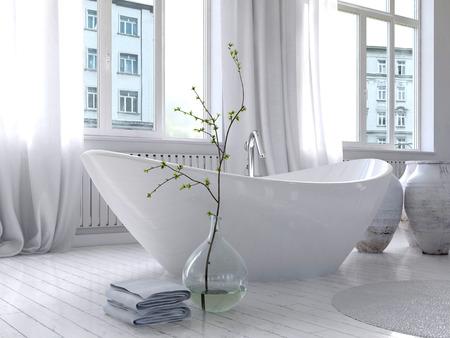 bañarse: Imagen de blanco puro interior cuarto de baño con bañera