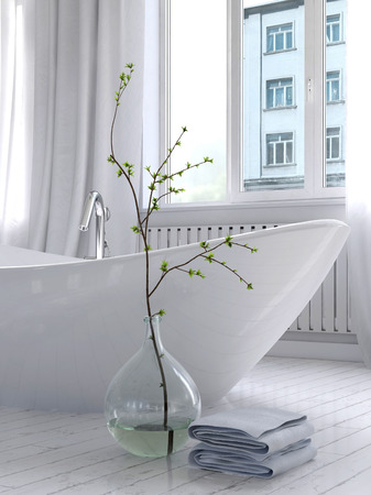 Picture of Pure white bathroom interior with separate bathtub