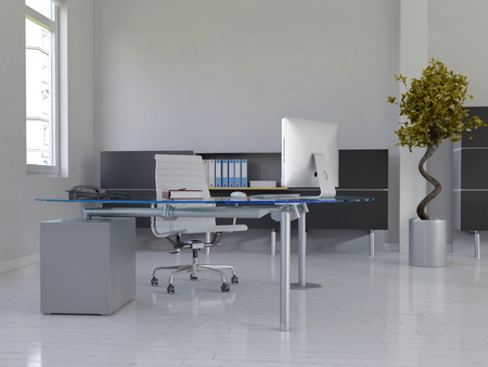 Picture of office interior with desk Stock Photo
