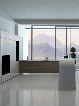 Picture of modern kitchen interior with landscape view photo