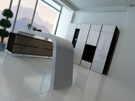 Modern kitchen interior with landscape view photo