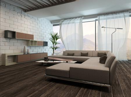 cortinas blancas: Imagen de la moderna sala de estar interior con cortinas blancas Foto de archivo