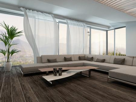 白いカーテンでモダンなリビング ルームのインテリアの写真