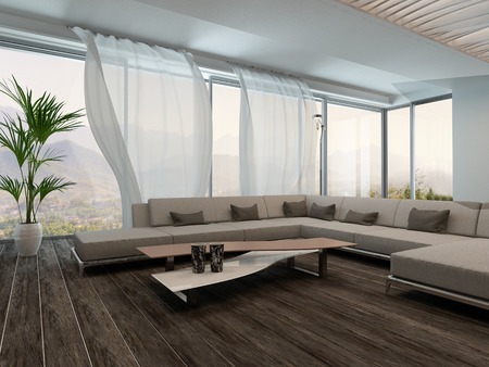 window curtains: Picture of modern Living Room Interior with white curtains Stock Photo