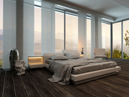 Bedroom interior with curtains and nice landscape view photo
