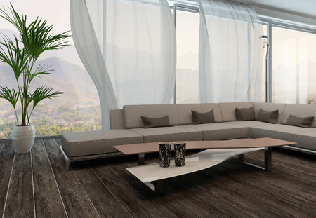 curtain window: Modern Living Room Interior with white curtains