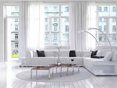 Imagen de la increíble loft de blanco interior living Foto de archivo - 28283567