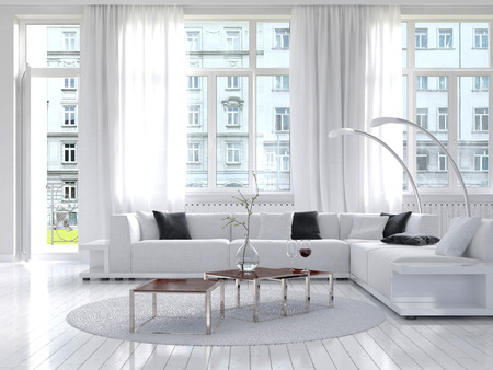 minimalist apartment: Picture of amazing white loft living room interior Stock Photo