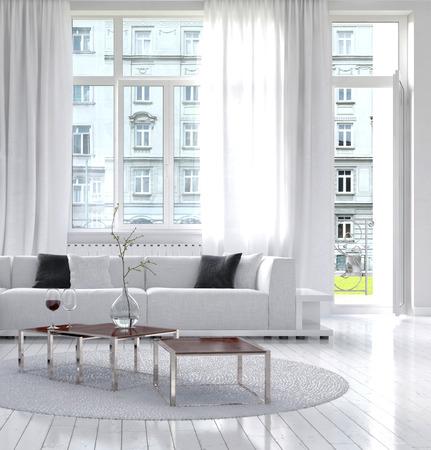 Picture of amazing white loft living room interior photo