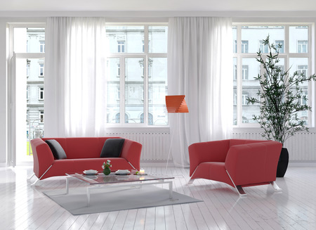 floor lamp: Sunny light living room interior with red couch and floor lamp