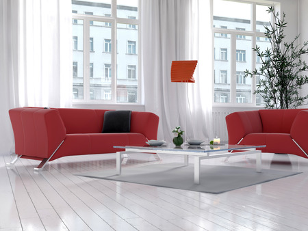 red sofa: Sunny light living room interior with red couch and floor lamp
