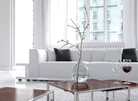 Beeld van verbazingwekkende witte loft woonkamer interieur
