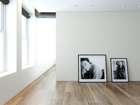retratos: Imagen de la moderna sala interior vac�o con los cuadros en la pared