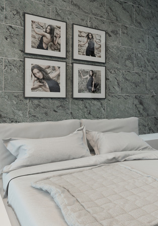 Picture of modern bedroom interior with stone wall photo