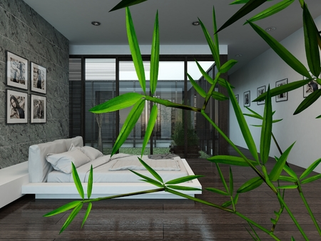 Modern bedroom interior with stone wall photo