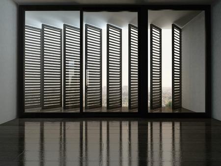 Afbeelding van lege kamer met een fantastisch raam met zonwering