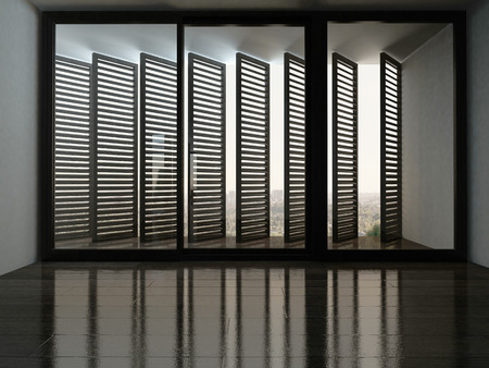 wood blinds: Picture of empty room with fantastic window with blinds Stock Photo