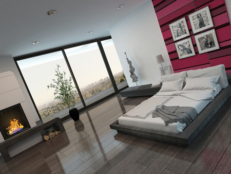 plan view: Modern bedroom interior with red wall and fireplace