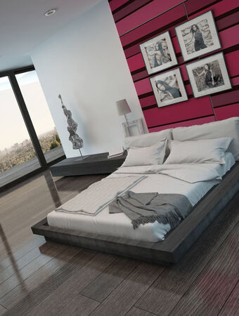 Picture of cozy bedroom interior with pinkred colored wall photo