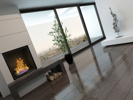 Picture of modern empty room interior with fireplace photo