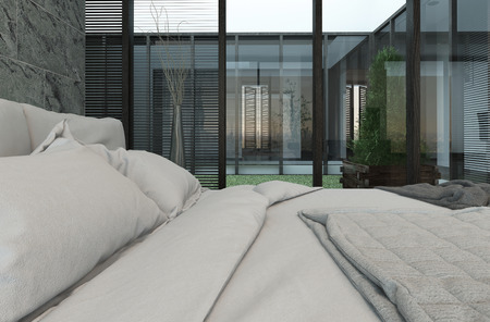 bedsheets: Picture of closeup of bed with white bedsheets